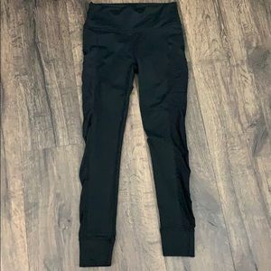 Fabletics black leggings with mesh sides